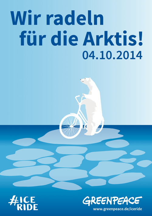 """Motiv für die Greenpeace-Aktion """"Radeln für die Arktis"""" am 4.0.2014"""